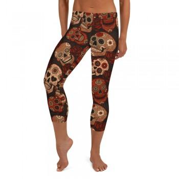 Dark Red Sugar Skull Capri Leggings
